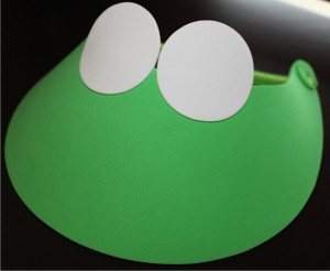 Green Foam Visor with White Eyes