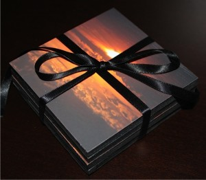 Photo-Coasters-tied-with-black-ribbon