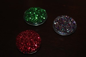 Back of Clear Glass Gems with Glitter