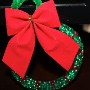 Wreath Ornament with Red Velvet Bow