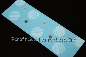 Blue Bookmark Insert with Paper Circles and Mini Buttons