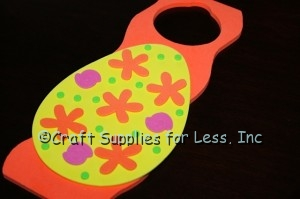 green foam dots added to decorated easter egg