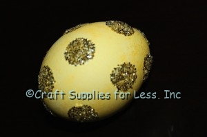 Gold Glitter Easter Egg with Polka Dots