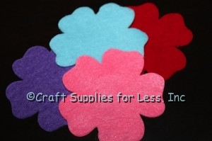 Pink, Red, Blue, and Purple Felt Flowers