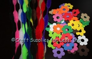 Foam Flower Shapes and Multi Bump Chenille Stems