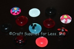colored glass gems with flowers and dots