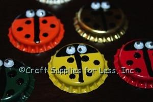 Ladybug Bottle Cap Magnets