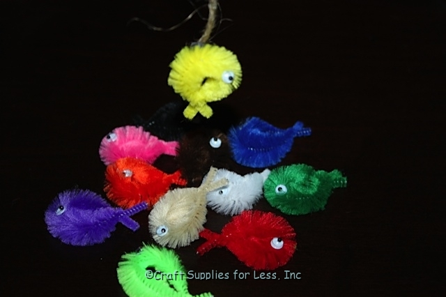 Fishing Game made with bump chenille stems
