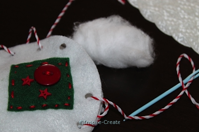stuff felt ornaments with cotton balls