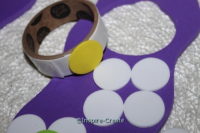 attach flower center with glue dots