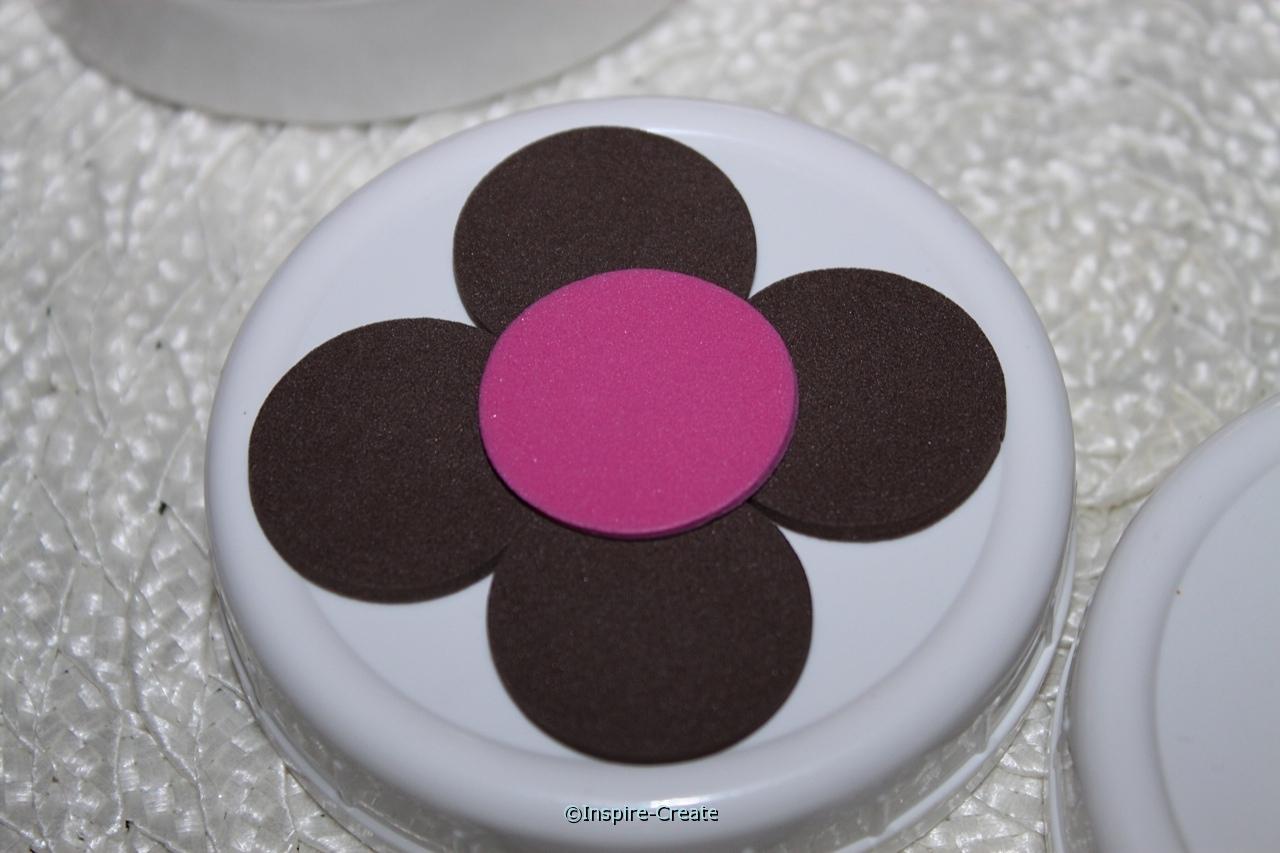 add flowers to your mason jar lids