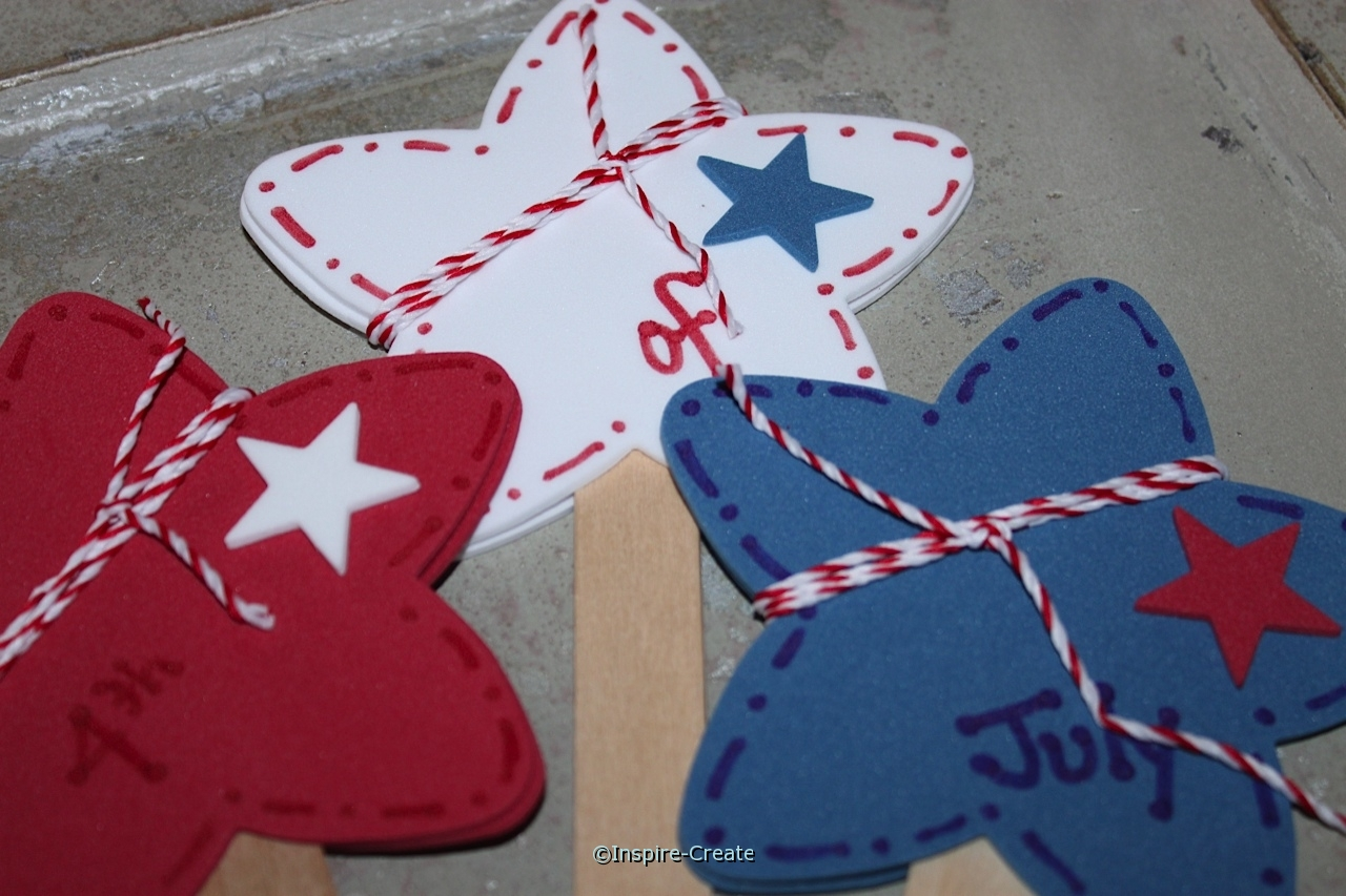 craft foam stars wrapped with baker's twine for the 4th of July