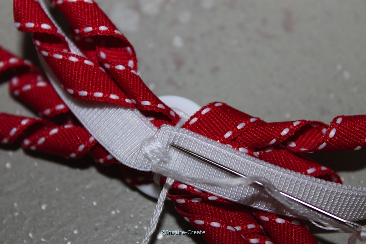 sew ribbon bow to stretchy ribbon for an easy headband