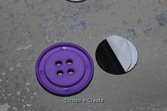 Peel and stick Adhesive Craft Magnet onto Craft Buttons
