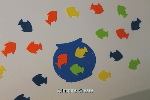 Bath time fun...  use Craft Foam Shapes