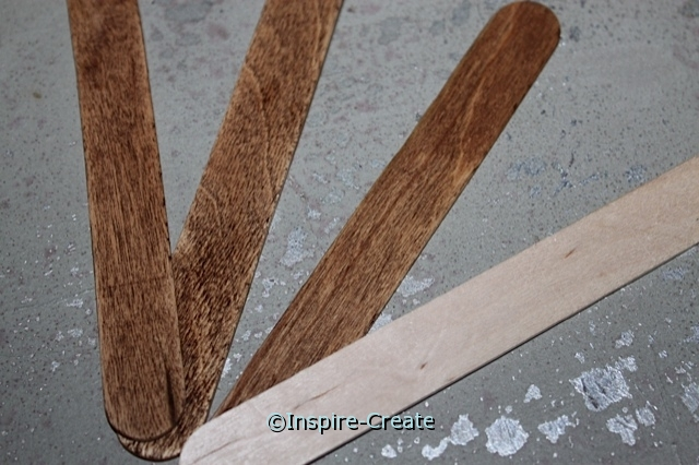 Color Wood Craft Sticks with used Coffee Grounds