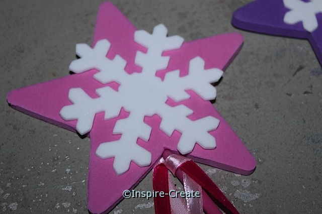 Attach Snowflake Shape onto the center of the star wand for a great winter craft!