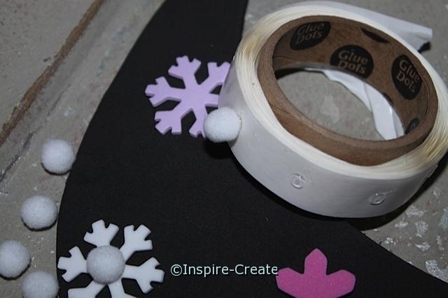 Snowflake Visors...attach pom poms to visor with mini glue dots.