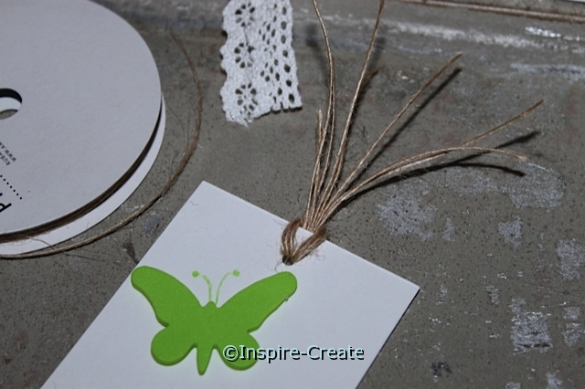 Butterfly Bookmarks - add natural twine to the top of the insert.
