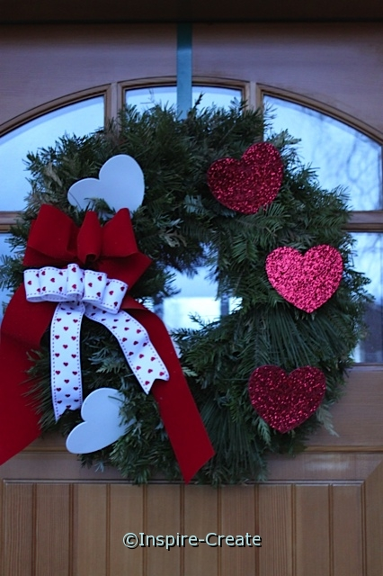 Glitter Heart Wreath made from Christmas Wreath for continued use!