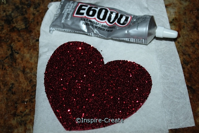 Valentine's Wreath - attach Glitter Hearts with E6000