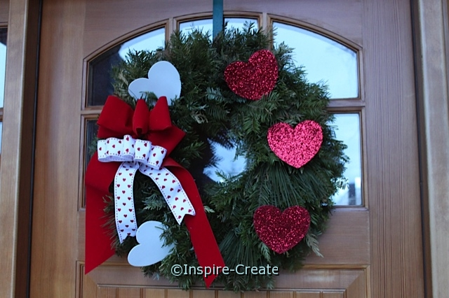 Re-purpose Christmas Wreath into Valentine's Wreath with Glitter Hearts!