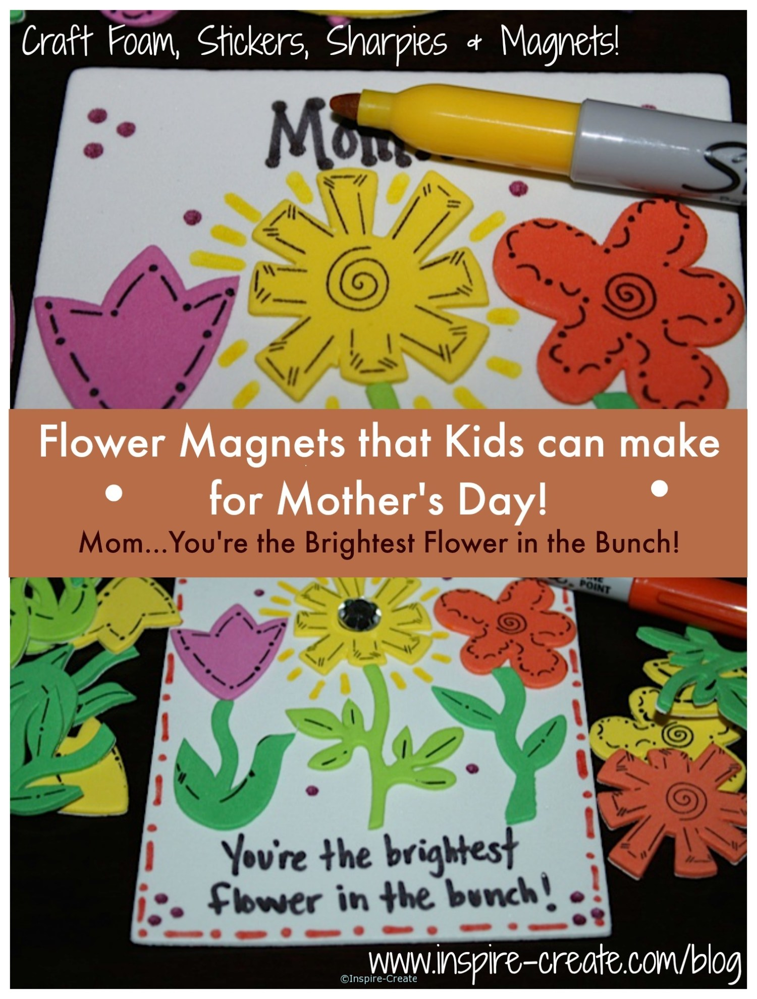 Mother's Day Flower Magnet that Kids can make!