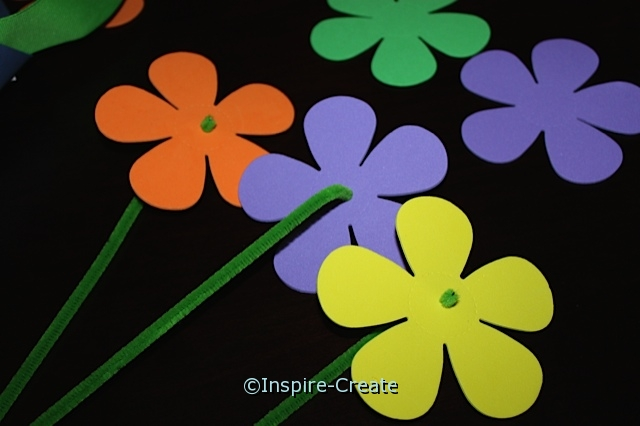 Flowers made with Chenille Stems and Craft Foam Petal Flowers