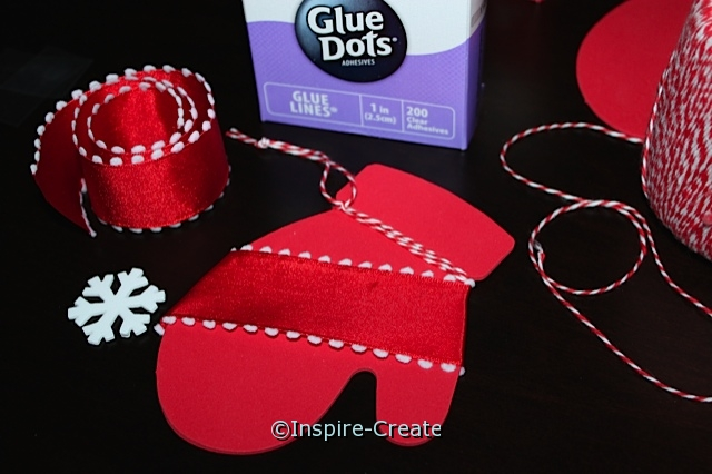 Mitten Ornaments for kids to make. Add Ribbon and a Snowflake.