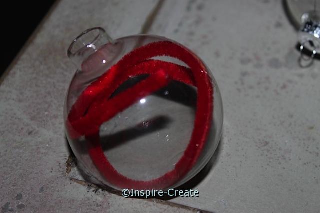 Glass Ornament Idea. Add Chenille Stems to the inside.