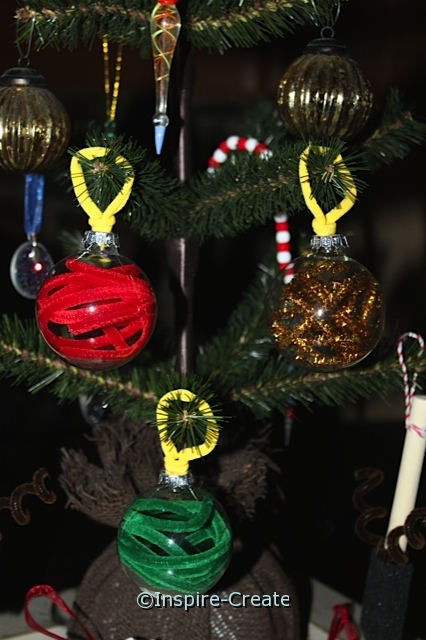 Glass Bulb & Chenille Stems! Easy Christmas Ornaments.