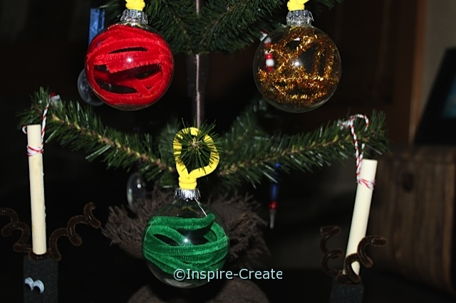 Glass Ornament Bulbs with Chenille Stems INSIDE