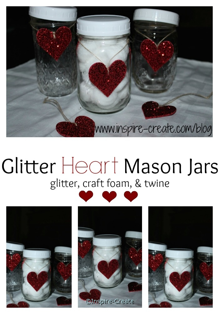 Glitter Heart Mason Jars! DIY...Perfect for home decor this Valentine's Day.