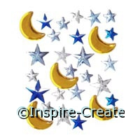 Moon & Star Stick on Rhinestones (27)*