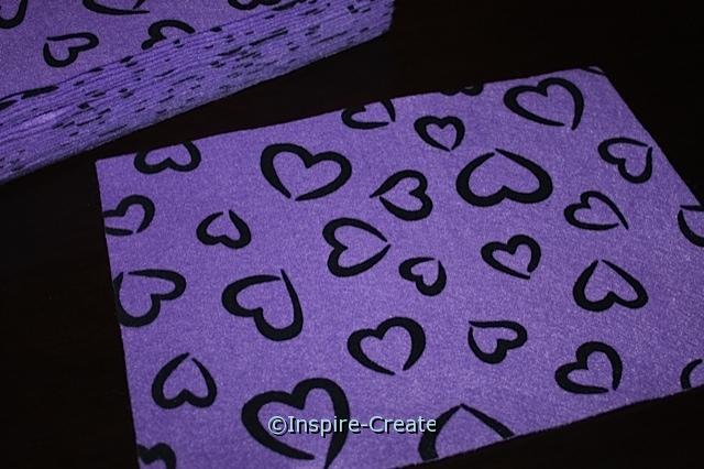 "Purple with Black Heart 9x12"" Felt Sheets (Bulk 12)*"