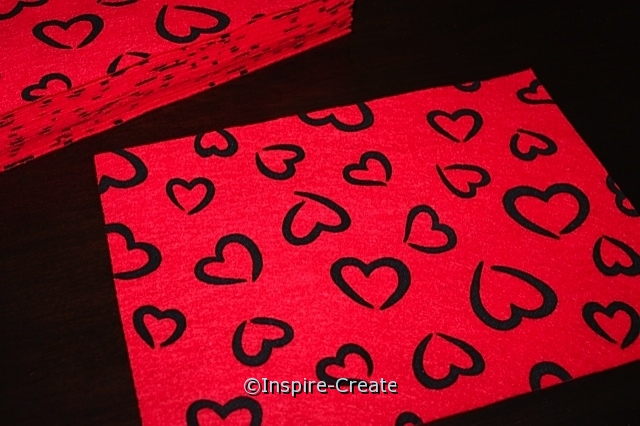 "Red w/ Black Heart 9x12"" Felt Sheets (Bulk 12)*"