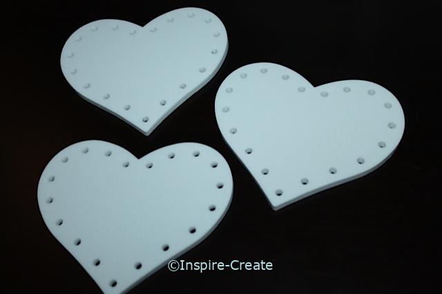 White Foam Lacing Hearts (6 pack)*