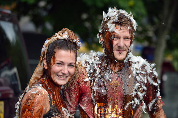 Making the bride and groom dirty - Scotland