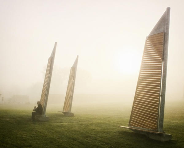 1. Benches that look like sails in Verchères, Canada