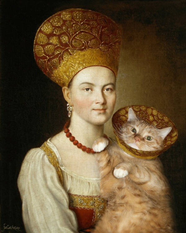 """17. """"Portrait of an Unknown Woman in Russian Costume"""" by Argunov"""