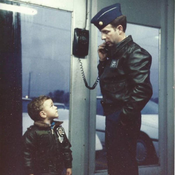 22. 'Me Looking Up To My Fighter Pilot Dad In The Late 1980's'