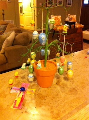 Evidence of my lingering Easter decorations