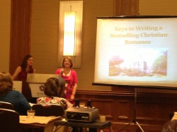Jody and I teaching on how to write a bestselling romance. We even had two men in the crowd. WooHoo!