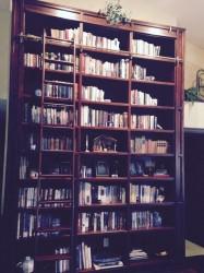 Our Manger scene on my beloved bookshelf