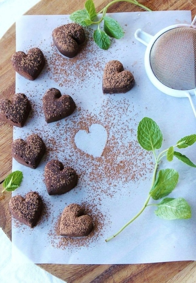 dusted mint cacao truffles