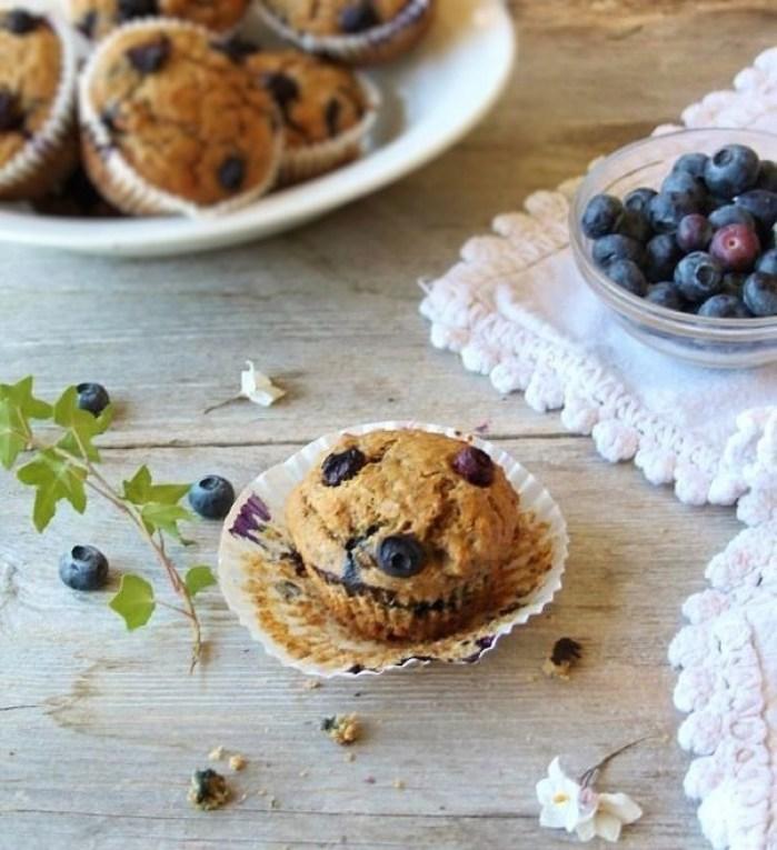 blueberry spelt breakfast muffins