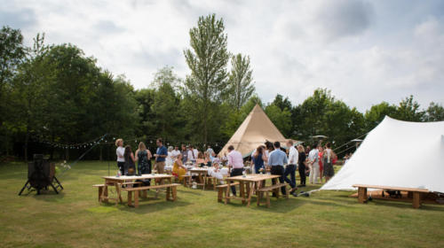 Festival style celebrations with both a tipi and stretch tent