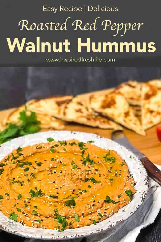 Pinterest image for Roasted Red Pepper Walnut Hummus.