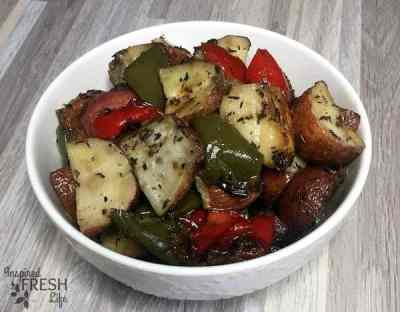 favorite roasted potatoes in a white bowl