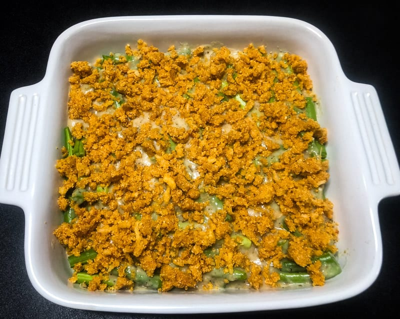 Grean Bean Casserole with crumb topping added, ready to go in oven.